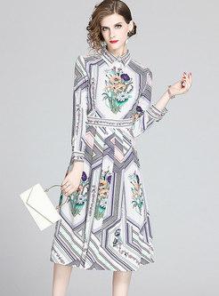 Lapel Print Gathered Waist Pleated Dress
