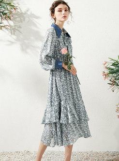 Floral Elastic Waist Bowknot Cake Dress