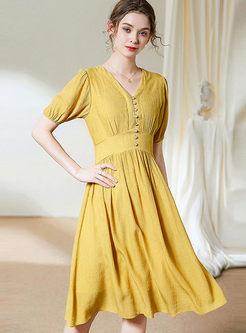 V-neck Gathered Waist Slim A-line Dress
