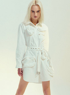 Single-breasted Belted Shirt Dress With Pockets