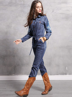 Denim Embroidered Lapel Drawcord Jumpsuit