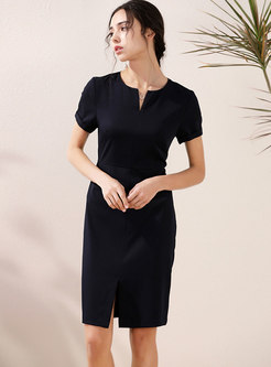 Brief V-neck Slit Office Bodycon Dress