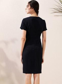 Brief V-neck Slit Office Bodycon Dress