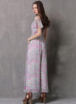 Floral Slash Neck Drawcord Jumpsuit