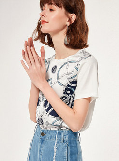 Crew Neck Print Cotton Pullover T-shirt