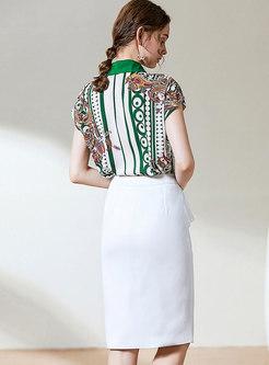 Print Lapel Falbala Pencil Skirt Suits