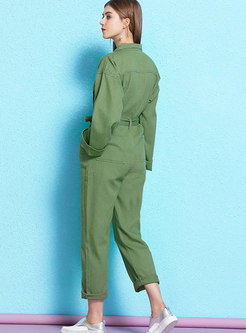 Army Green Lapel Belted Casual Jumpsuit