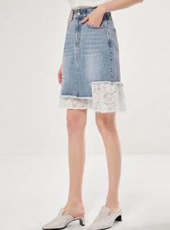 Lace Patchwork Denim Pencil Skirt
