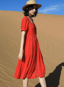 Square Neck Patchwork A-line Dress