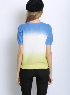 Color Block Short Sleeve Knit Top