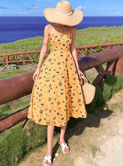 Backless Floral Slim Slip Dress