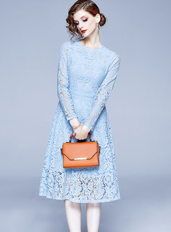 Solid Color Lace Openwork A-line Dress
