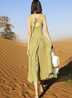 Square Neck High Waisted Maxi Beach Dress