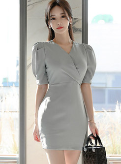 Puff Sleeve High Waisted Sheath Dress