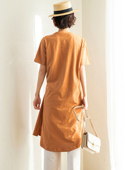 Brief Gathered Waist Side-slit T-shirt Dress