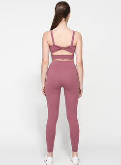 Solid Color Openwork Tight Tracksuit