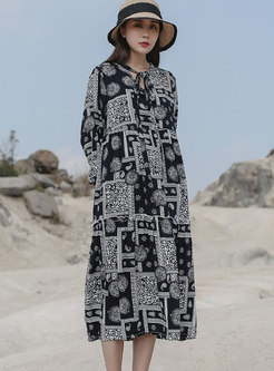 Vintage Print Tie-collar Shift Midi Dress