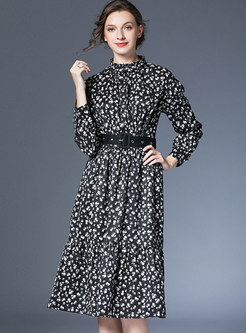 Floral Stand Collar Belted A-line Dress