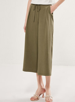 Drawcord Solid Color Cropped Palazzo Pants