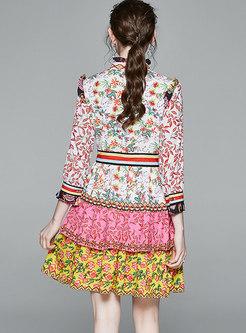Stand Collar Floral Mini Cake Dress