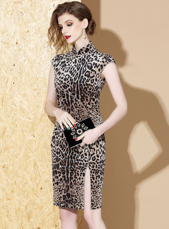 Stand Collar Leopard Sleeveless Bodycon Dress