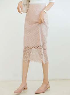 Lace High Waisted Perspective Pencil Skirt