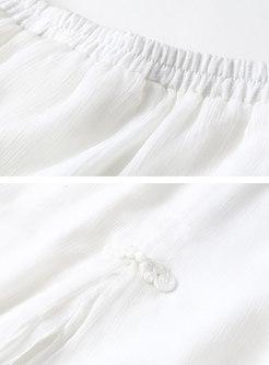 Vintage Asymmetric Slit Cropped Palazzo Pants
