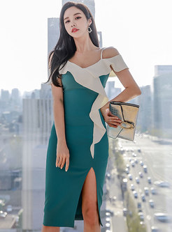 Off Shoulder Ruffle Slit Bodycon Dress
