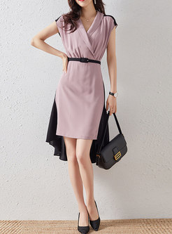 Color Block Belted Asymmetric Bodycon Dress