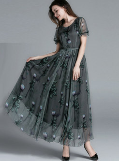 Chiffon Print Big Hem Slim Beach Dress
