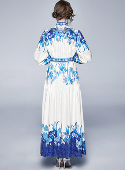 Retro Stand Collar Print Belted Maxi Dress
