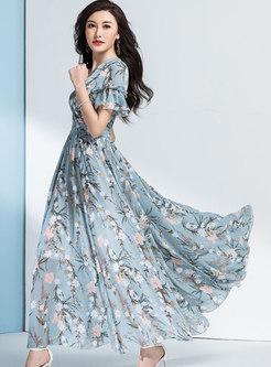 Boho V-neck Floral Empire Waist Beach Long Dress
