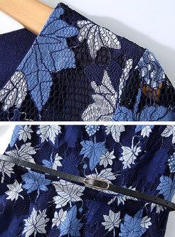 Deep Blue Print Lace Belted Skater Dress