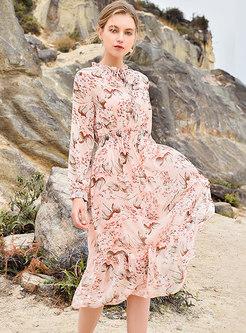 Floral Elastic Waist Ruffle Midi Dress With Camis