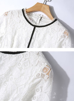 Color-blocked Lace High Waisted Skater Dress