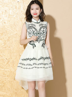 Embroidered Stand Collar Asymmetric Skater Dress
