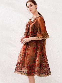 Embroidered V-neck Tied Shift Dress