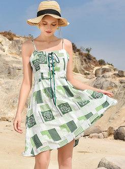 Bohemia Print Square Neck Slip Beach Dress
