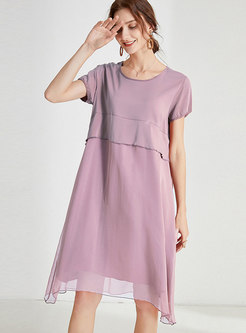 Crew Neck Patchwork Asymmetric Shift Dress