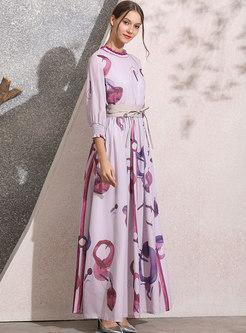 Mock Neck Empire Waist Print Maxi Dress