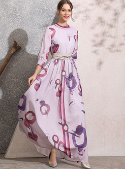 Mock Neck Empire Waist Print Maxi Dress