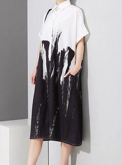 Plus Size Lapel Print Shirt Midi Dress