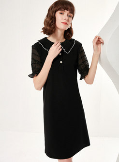Sweet Turn-down Collar Shift Dress