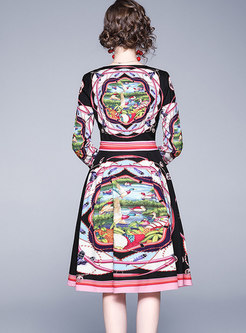 V-neck Print High Waisted Skater Dress