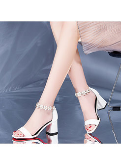 Square Toe Chunky Heel Leather Sandals