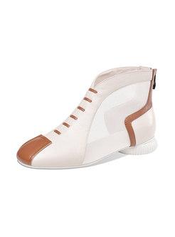 Color Block Mesh Patchwork Ankle Boots