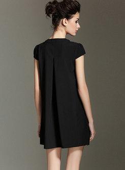 Chiffon Half-zip Asymmetric Shift Mini Dress