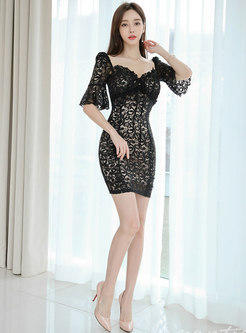 Lace Openwork Flare Sleeve Sheath Mini Dress