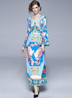 Vintage Print Flare Sleeve Slim Maxi Dress