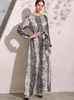 Lantern Sleeve Print Tied Maxi Dress